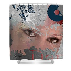 Shower Curtain featuring the digital art Subway Walls by Leo Symon