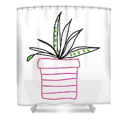 Shower Curtain featuring the mixed media Succulent In A Pink Pot- Art By Linda Woods by Linda Woods