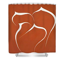 Shower Curtain featuring the painting Succulent In Orange by Ben Gertsberg