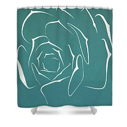 Shower Curtain featuring the painting Succulent In Turquoise by Ben Gertsberg