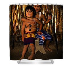 Shower Curtain featuring the photograph Sucua Kids 901 by Al Bourassa