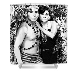 Shower Curtain featuring the photograph Sucua Shaman And Spouse by Al Bourassa