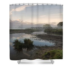 Sudbury Meadows Bridge Shower Curtain by Ian Merton