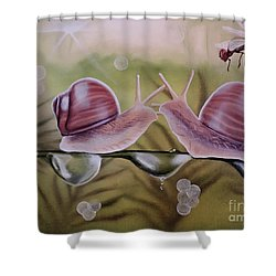 Sue And Sammy Snail Shower Curtain by Dianna Lewis