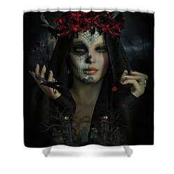 Shower Curtain featuring the digital art Sugar Doll Magic by Shanina Conway