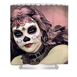 Shower Curtain featuring the painting Sugar Skull Angel by Maynard Ellis