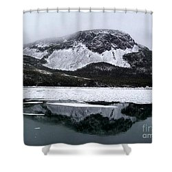 Shower Curtain featuring the photograph Sugarloaf Hill Reflections In Winter by Barbara Griffin