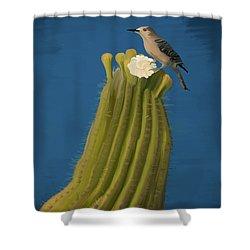 Sugaro Cactus And Cactus Wren Shower Curtain by Wally Hampton