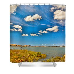 Suisun Bay With Clouds Shower Curtain
