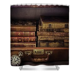 Suitcase Full Of Books Shower Curtain by Garry Gay