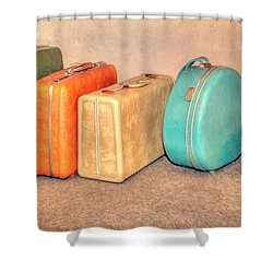 Suitcases Shower Curtain by Marion Johnson