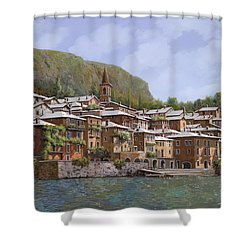 Sul Lago Di Como Shower Curtain by Guido Borelli