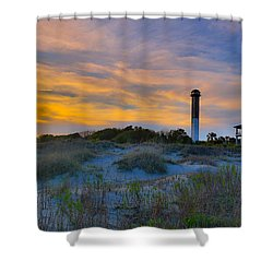 Sullivan's Island Lighthouse At Dusk - Sullivan's Island Sc Shower Curtain