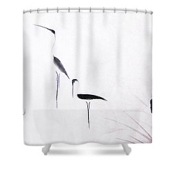 Sumi-e Egrets Shower Curtain