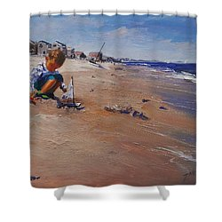 Shower Curtain featuring the painting Summer 2016 by Laura Lee Zanghetti