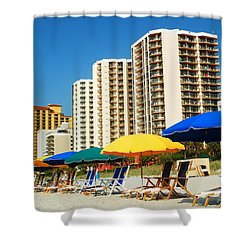 Summer At Myrtle Beach Shower Curtain by James Kirkikis