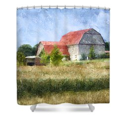 Shower Curtain featuring the digital art Summer Barn by Francesa Miller