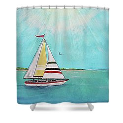 Shower Curtain featuring the painting Summer Breeze-b by Jean Plout