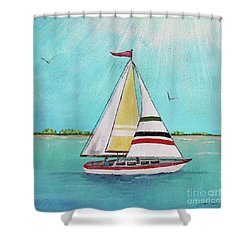 Shower Curtain featuring the painting Summer Breeze-d by Jean Plout