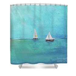 Shower Curtain featuring the painting Summer Breeze-e by Jean Plout