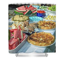 Summer Buffet In Garden Shower Curtain