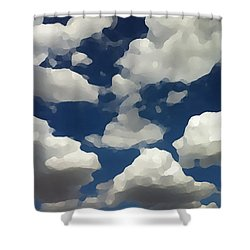 Shower Curtain featuring the digital art Summer Clouds In A Blue Sky by Shelli Fitzpatrick