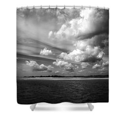 Summer Clouds In Back And White Shower Curtain