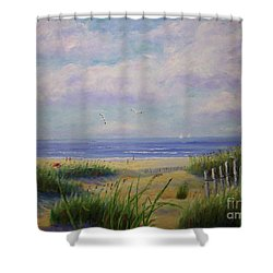Summer Day At The Beach Shower Curtain by Stanton Allaben