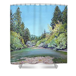 Summer Day On The Gualala River Shower Curtain by Asha Carolyn Young