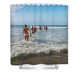 Shower Curtain featuring the photograph Summer Days Byron Waves by Az Jackson