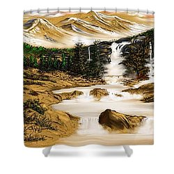 Shower Curtain featuring the drawing Summer Evening Glow by Anthony Fishburne