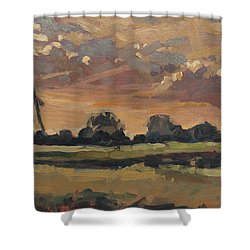 Summer Evening In The Polder Shower Curtain