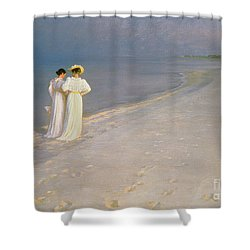 Summer Evening On The Skagen Southern Beach With Anna Ancher And Marie Kroyer Shower Curtain by Peder Severin Kroyer