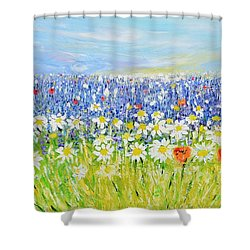 Shower Curtain featuring the painting Summer Field by Evelina Popilian