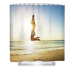 Summer Fitness Girl Shower Curtain