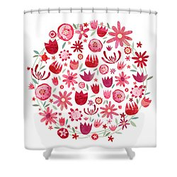 Summer Flower Circle Shower Curtain by Nic Squirrell