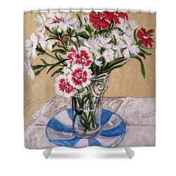 Shower Curtain featuring the painting Summer Flowers by Laura Aceto
