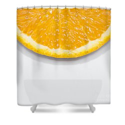 Summer Fruit Orange Slice On Studio Copyspace Shower Curtain by Jorgo Photography - Wall Art Gallery
