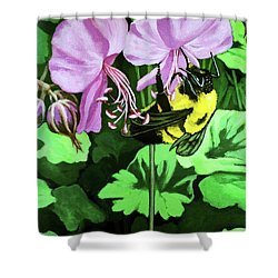 Shower Curtain featuring the painting Summer Garden Bumblebee And Flowers Nature Painting by Linda Apple