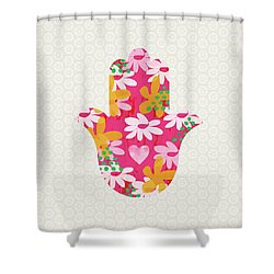 Summer Garden Hamsa- Art By Linda Woods Shower Curtain