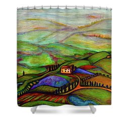 Shower Curtain featuring the painting Summer Hills by Rae Chichilnitsky