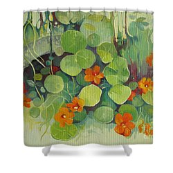 Shower Curtain featuring the painting Summer In The Garden by Elena Oleniuc