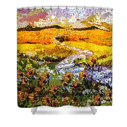 Summer Landscape Sunflowers Provence Shower Curtain by Ginette Callaway
