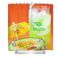 Shower Curtain featuring the photograph Summer Memory Little People On Food by Paul Ge