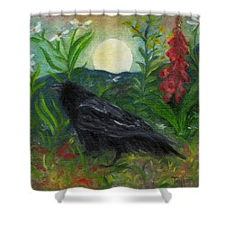 Summer Moon Raven Shower Curtain