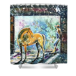 Shower Curtain featuring the painting Summer Morning At The Barn by Zaira Dzhaubaeva