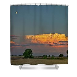 Shower Curtain featuring the photograph Summer Night Storms Brewing And Moon Above by James BO Insogna