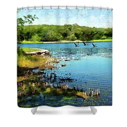 Summer On The Lake Shower Curtain
