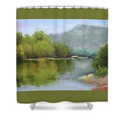 Shower Curtain featuring the painting Summer On The River by Nancy Jolley