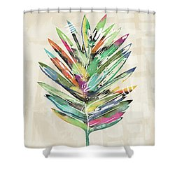 Shower Curtain featuring the mixed media Summer Palm Leaf- Art By Linda Woods by Linda Woods